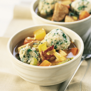 Cidered pork stew with light herb dumplings