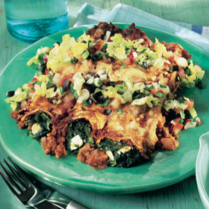 Pork and spinach enchiladas