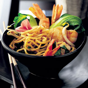 Seafood and noodle stir-fry