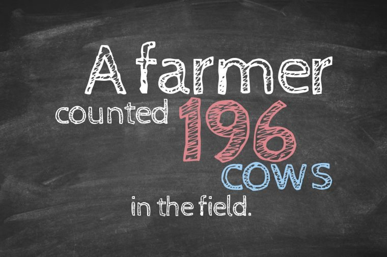 A farmer counted 196 cows in the field.