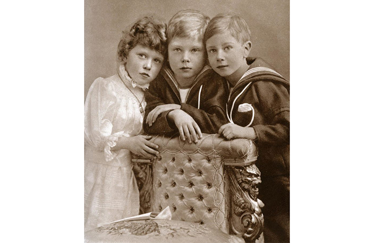 The future kings with their sister, Princess Mary