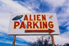 Alien parking at UFO crash site Roswell