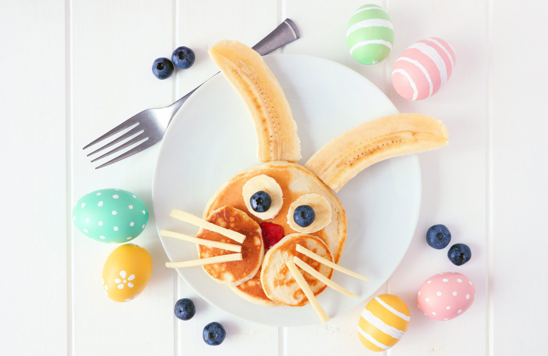 Start the day off right: Easter bunny fruity pancake