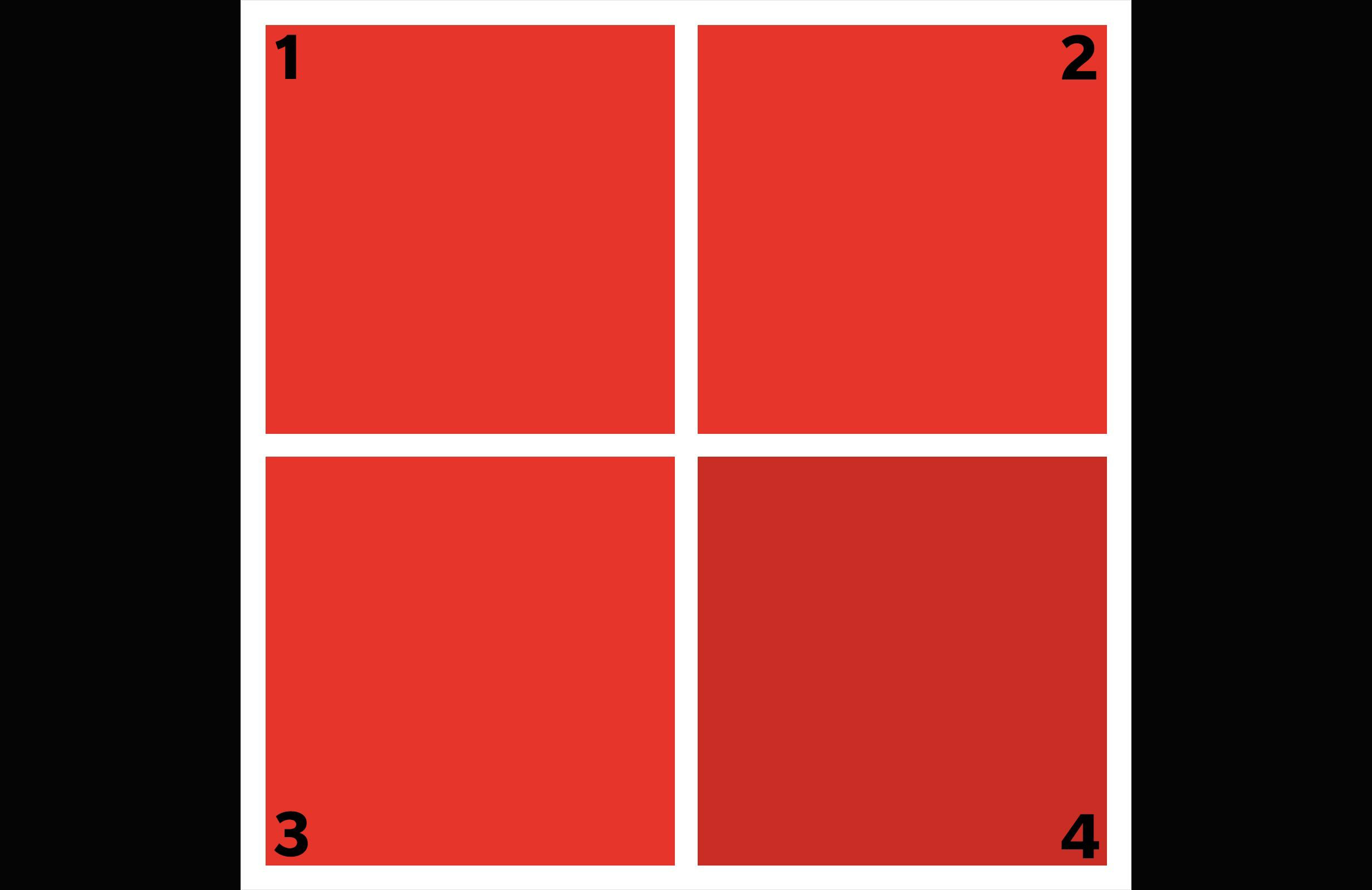 Which shade of red is different?